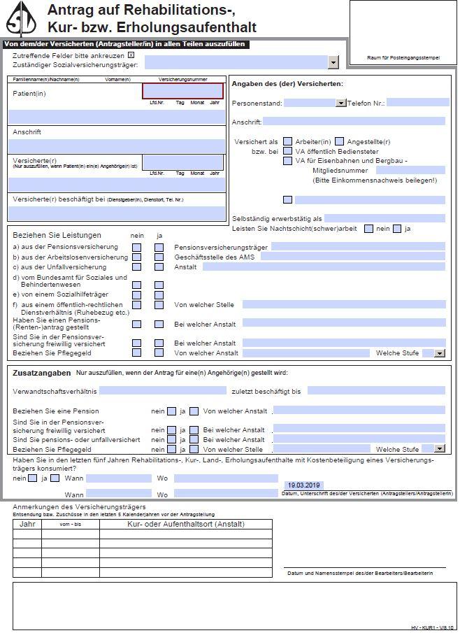 Kurantrag Formular Download